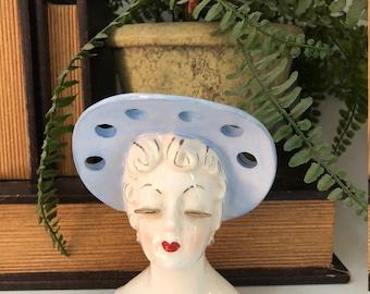 Vintage Irice Lady Head Vase/Headvase/Lady Planter/Glamour Girl/Blue Hat