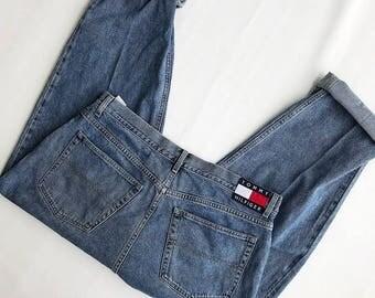Men's Size 40w 90s Vintage Denim Tommy Hilfiger Tommy Jeans Pants EUC Big Flag Patch
