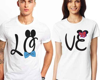 Matching t-shirts. Shirts for  couples. Matching Disney. Love tees set. LO-VE T-shirts. Affordable couple tees  fashion for every occasion