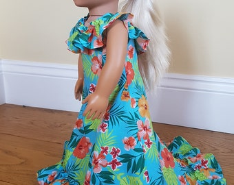 Custom Made Doll Clothes Holoku Hawaiian Hibiscus dress fits Our Generation Doll