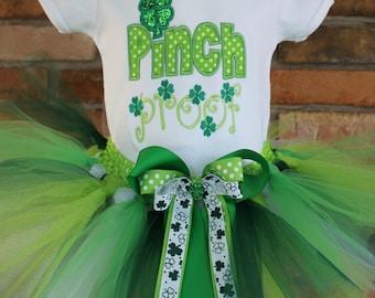 St.Patricks Day Outfit Girl,Pinch Proof,Shamrock Tutu,Green Tutu Outfit, Babys 1st St.Pattys,Babys 1st St.Patricks ,Clover,Good Luck,Irish
