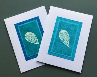 Falling leaves on turquoise embossed blank cards (set of 2 assorted), individually made: note cards, fine cards, A2, SKU BLA21050