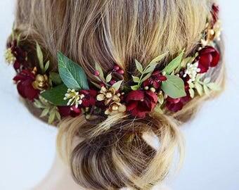 burgundy headpiece, floral hair piece, burgundy hair clip, bridal headpiece, burgundy hair flower, gold wedding, leaf floral hair clip
