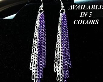 Long Sterling Silver and Colored Chain dangle Earrings