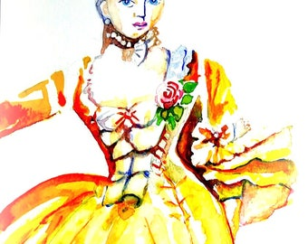 Original watercolor. Lady in yellow 18-th century dress. Marie Antoinette style.