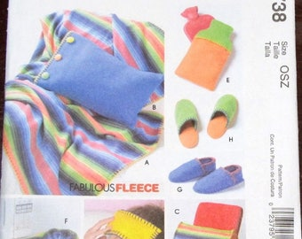 Fabulous Fleece Craft Sewing Pattern McCall's 4738 Throw Blanket Pillows Water Bottle Cover, Heat-up Pillow, Slippers Size S M L XL Uncut FF