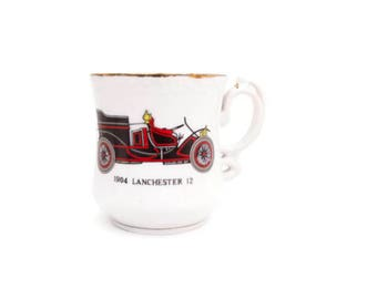 Vintage Mustache Mug 1904 Lanchester 12 Black and Red Classic Auto Man Cave White Porcelain JAPAN Embossed Design Shaving Cup Coffee Mug
