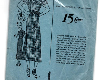 "1930's Advance One-Piece Dress with Flap details Pattern - Bust 31"" - No. 1183"