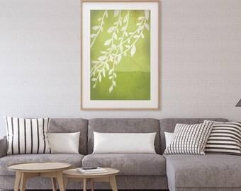 Green Wall Art Print, Nature Print, Large Art Print, Tree Art, Japanese Art, Botanical Print, Plant Print, Botanical Art, Tree Print, Willow