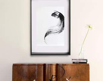 Large abstract ink art, modern abstract art, minimalist abstract, art, ink drawings, ink painting, movement abstract art, wave abstract art