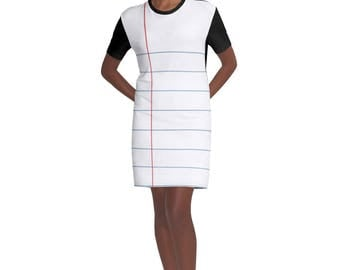 Notebook Paper Graphic T-shirt Dress - Just in time for heading Back to School - Perfect gift for you favorite teacher or student.