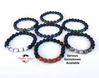Men Lava Bracelet-Men Diffuser Bracelet-Men Beaded Bracelet-Men Stone Bracelet-Men Gemstone Bracelet-Essential Oil Diffuser Bracelet