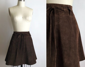 rare 1960s suede mini skirt XXS/XS ~ vintage brown leather wrap skirt