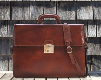 Brown Leather Briefcase Attache Laptop Bag Case with Combination Lock (10402BROWN)