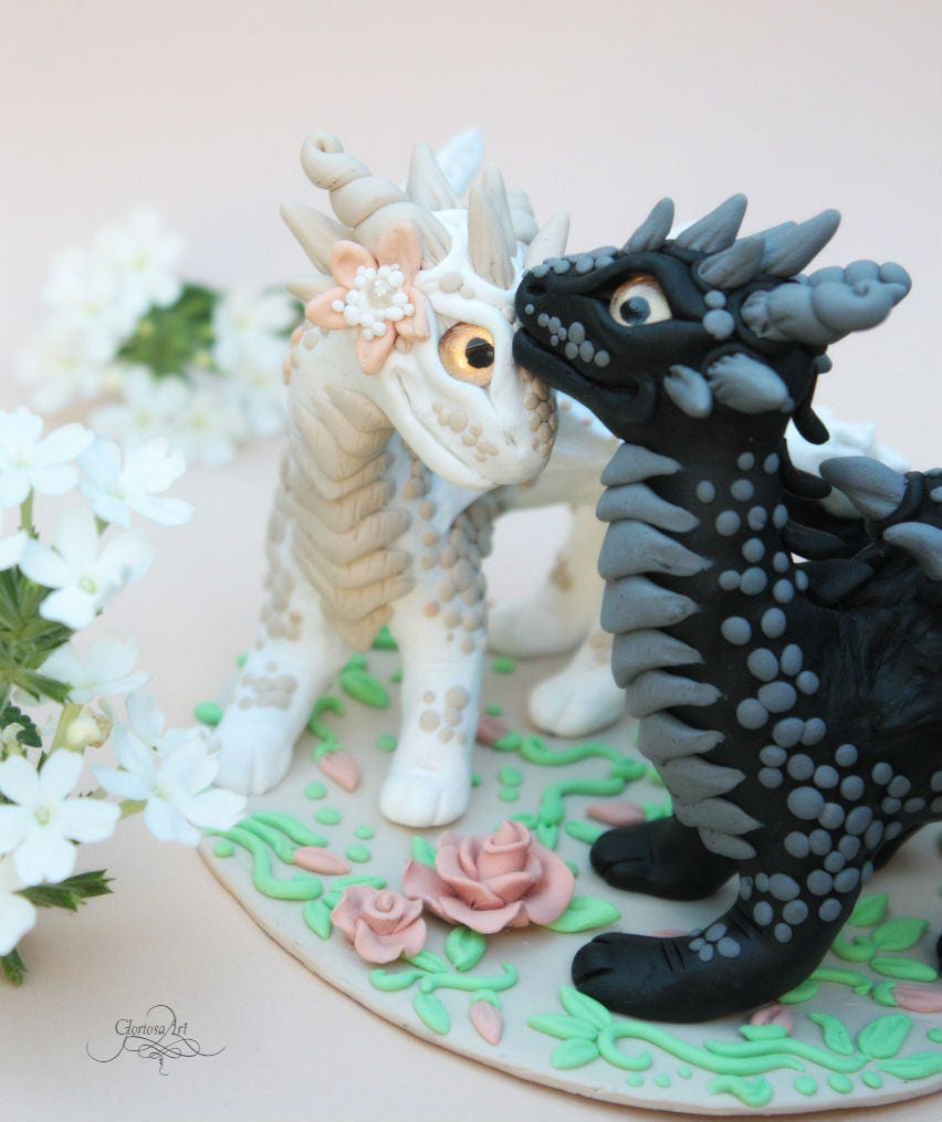 Dragon wedding cake topper - bride groom cake - dragon pair ...