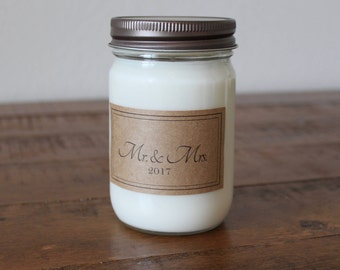 Soy Candle Wedding Gift - Mr. and Mrs. Gift - Engagement Gift