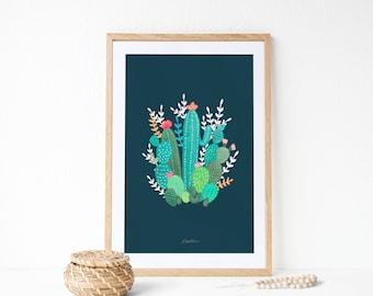 Cactus ilustración:  Decoración botánica de pared.