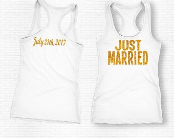 Just Married Shirt, Just Married Tank Top, Bride Tank Top, Bridal Shirt, Just Married Shirt, Honeymoon Shirt, Wedding shirt, Bride Shirt