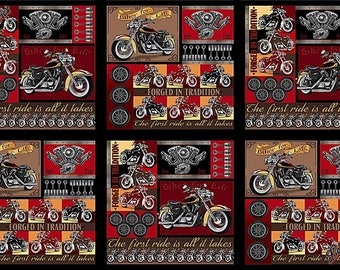 "6 Blocks Quilting Treasures ""Biker For Life"" 26016-X Motorcycle Fabric Panel 23"" x 43"""
