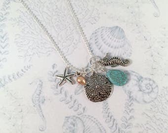 Beach Charm Necklace, Sand Dollar & Freshwater Pearl, Sea Horse, Turquoise Drop and Star Fish