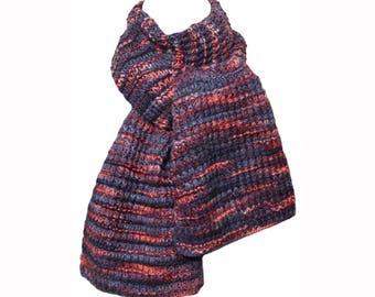 Hand Knit Scarf - Blue Coral Lauca River Fence Rib Wool Camel Silk