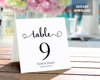 Table Numbers Template, Printable Wedding Table Number Card DIY Editable Tented Table Cards, Black Script Font Table Signs Instant Download
