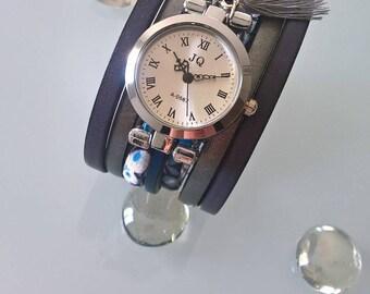 Pretty blue/gray leather strap watch