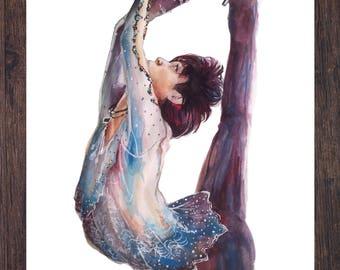 "Yuzuru Hanyu- Olympic figure skater Watercolor: 5x7""; 8.5x11"""