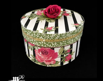 Roses and Stripes Paper Mache Jewelry Box, Pink Roses, Red Roses, Spring Rose Collection, Storage Box, Trinket Box, Black Stripes, Garden