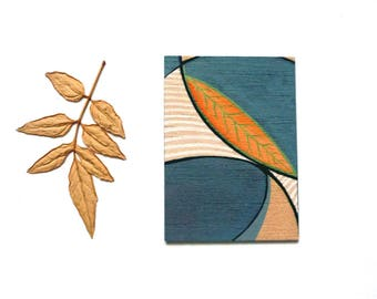 Modern art aceo, mini painting on wood, Nature inspired contemporary art