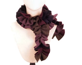 Cashmere Scarf, Handmade Soft Cashmere Ruffle Scarf, Upcycled Cashmere Scarf, Gift For Her, Womens Winter Cashmere Scarf, Brown Blue Purple