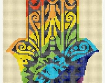 Hamsa hand Cross Stitch Pattern Pdf chart cross stitch symbol needlepoint - 90 x 114 stitches - NSTANT Download - B1116