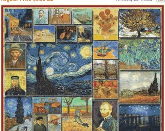 collage Van Gogh Cross Stitch Pattern Pdf needlework needlepoint needlecraft - 441 x 353 stitches - INSTANT Download - B1213