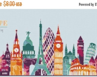 Europe landmark building - 276 x 125 stitches Counted Cross Stitch Pattern needlework kreuzstitch point de croix korss B1163