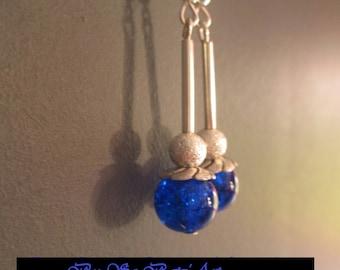 "Earrings ""Indigo love"" electric blue cracked glass beads"