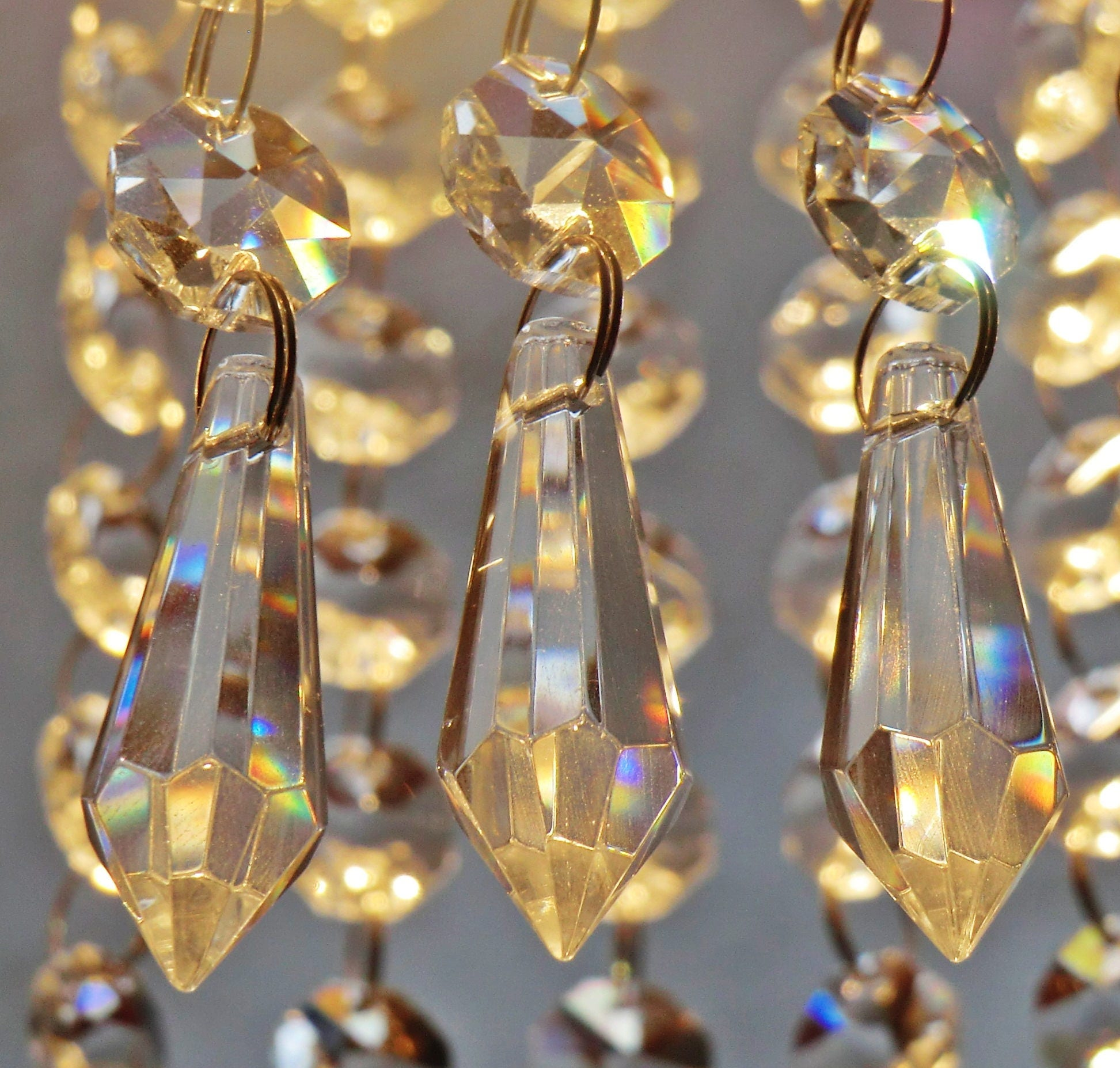24 Chandelier Drops Parts Glass & XL Prisms Crystals Shabby ...