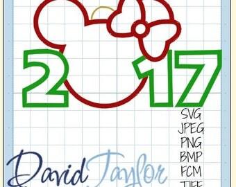 SVG Cutting Machine Minnie Ornament 2017/2018 Christmas Design*svg png bmp jpeg*Instant Download-DTDigitizing-For Cricut Silhouette Studio