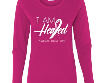 Breast Cancer Awareness Shirt, I Am Healed, Pink Shirt, Survivor Shirt, Cancer Shirt, Cancer Walk, Ladies Shirt, Breast Cancer Shirt