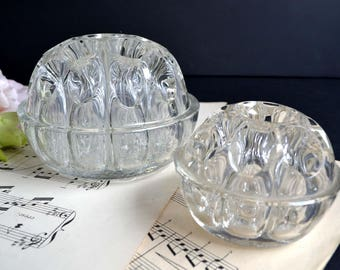 2 Antique Pressed Glass Flower Frogs For Floral Arrangements Supports Bouquet Stem Holders Reims