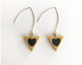 Triangle heart earrings - handmade with polymer clay and sterling silver wire