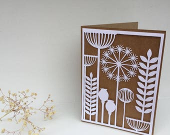 SEED HEADS - Papercut greetings cards - handmade - A6 recycled card - Free UK Shipping