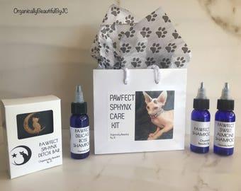 PAWFECT SPHYNX Going Home Care Kit, SOAP, cat soap, sphynx, naked, kitty, organic, cat shampoo, organic sphynx shampoo, detox, pure