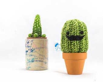 Crochet Moustache Cactus, succulent gift, crochet succulent, crochet plant, crochet cactus, mexican, mini cactus, fake plant