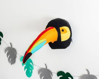 Felt toucan, toucan head, animal mount, bird mount, bird head, nursery decor, childrens room, kids room decor
