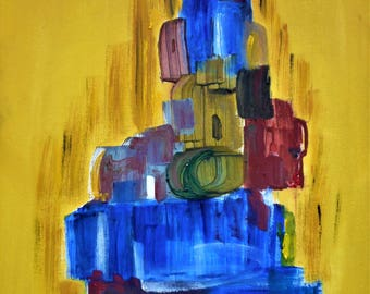"""Original Abstract Oil Painting by Nalan Laluk: """"Tower of Babel, Modern"""""""