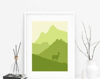 SALE Peru skyline printable art, Machu Picchu minimalist skyline printable, Machu Picchu skyline, Peru art wall, green artwork, large wall a