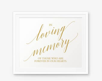 In Loving Memory Sign, Wedding sign printable, Wedding Decor, Wedding Memorial Sign, In Memory of Wedding, Style 1