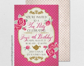Birthday Tea Party Invitation 1, With or Without Photo, Customized, Digital File