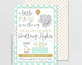 Elephant Baby Shower Invitation 2, Customized, Digital File