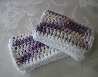 "Set of Two Hand Crochet Purple, Cream, And White Washcloths, Dishcloths, and Facecloths 11 1/2"" by 7"" ( One Price Buys Two)"